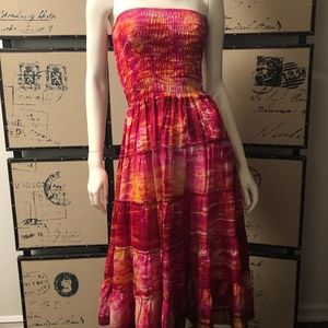 NWT Gypsy Soul Silk Pink Strapless Maxi Dress